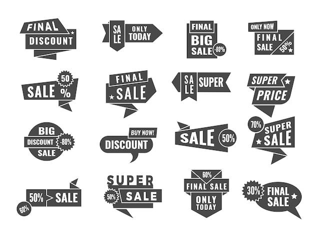 Crachás promocionais. venda e oferece banners e etiquetas de varejo vetor modelo preto