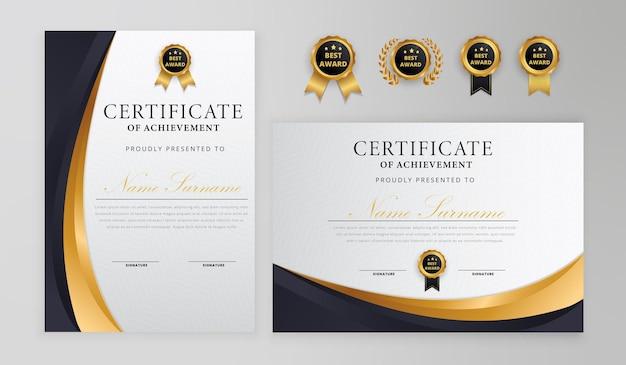 Crachás simples de certificado de onda preta e dourada e modelo de diploma