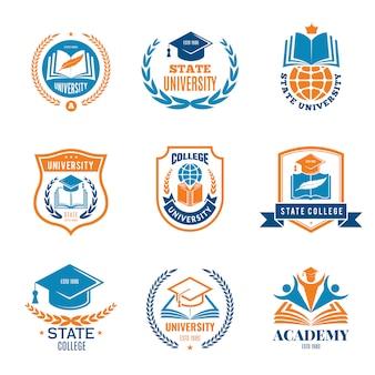 Crachás universitários. escola negócios identidade qualidade emblema faculdade logotipo