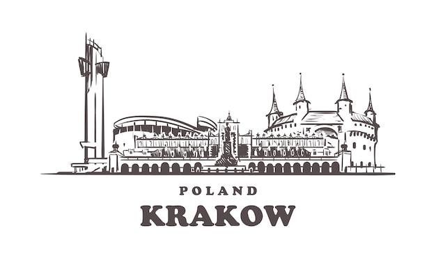 Cracóvia desenhada à mão, polônia