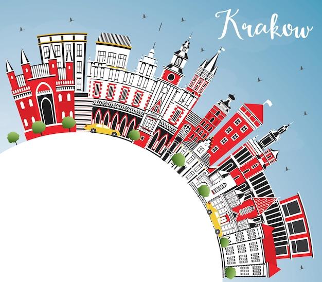 Cracóvia polônia city skyline com cor edifícios, céu azul e espaço de cópia. ilustração vetorial. viagem de negócios e conceito de turismo com arquitetura histórica. paisagem urbana de cracóvia com pontos turísticos.