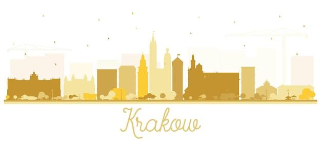 Cracóvia polónia silhueta do horizonte da cidade com edifícios dourados isolados no branco. ilustração vetorial. viagem de negócios e conceito de turismo com arquitetura histórica. paisagem urbana de cracóvia com pontos turísticos.
