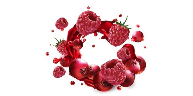 Cranberries e framboesas frescas em salpicos de suco de fruta em um fundo branco.