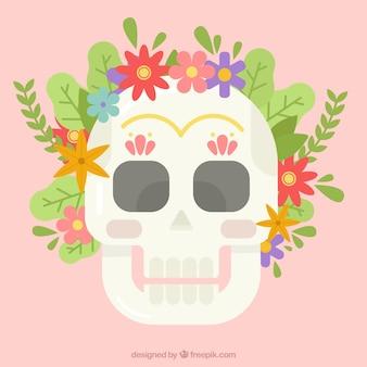 Crânio achatado com flores coloridas