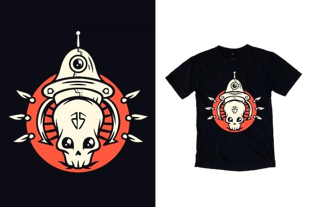 Crânio alienígena com ilustração de ovni para camiseta