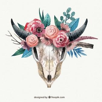Crânio animal com flores no estilo da aguarela