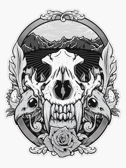 Crânio animal para design de camisa no conceito branco preto