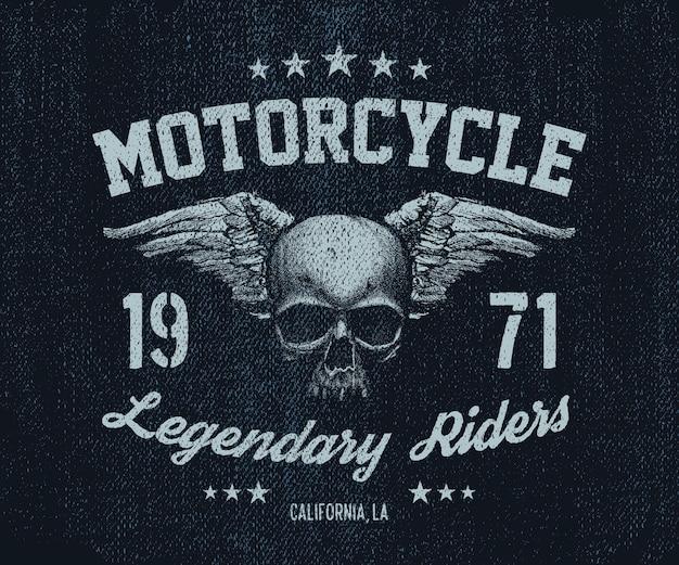 Crânio antigo de motociclista retrô de emblema de vetor