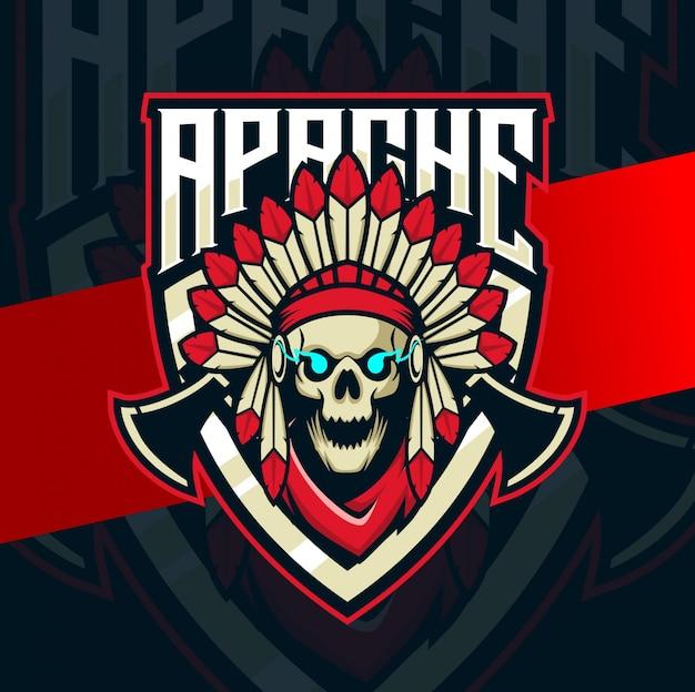 Crânio apache mascote indiano esport logotipo