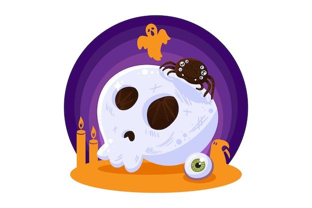 Crânio assustador de elemento de design de halloween para cartão de felicitações