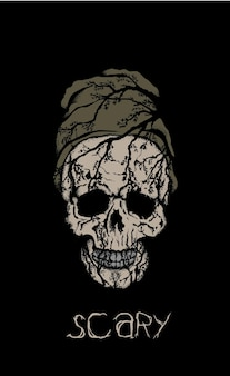 Crânio assustador no chapéu em fundo preto.