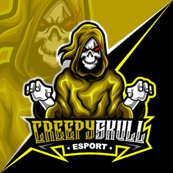 Crânio assustador sinistro, ilustração em vetor logotipo mascote esports