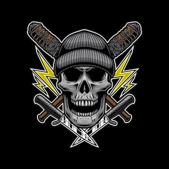Crânio bandido com estilo de faca para design de t-shirt