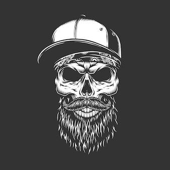 Crânio barbudo e bigode monocromático vintage