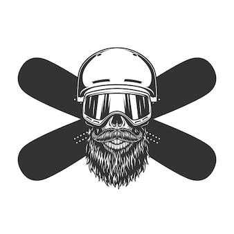 Crânio barbudo e bigode vintage de snowboard