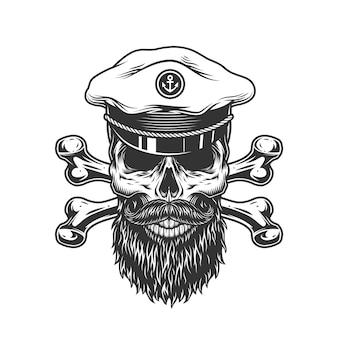 Crânio barbudo e bigode vintage