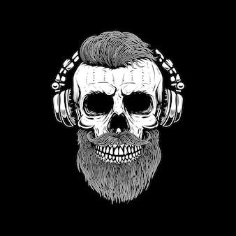 Crânio barbudo em fones de ouvido. elemento para cartaz, cartão, emblema, banner de sinal. imagem