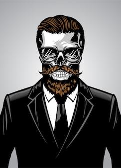 Crânio barbudo hipster vestindo terno