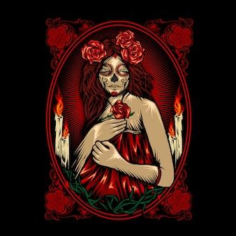 Crânio bonito dia de muertos