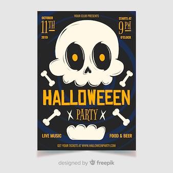 Crânio branco com pôster de festa de halloween