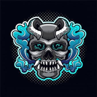 Crânio cabeça diabo mascote logotipo