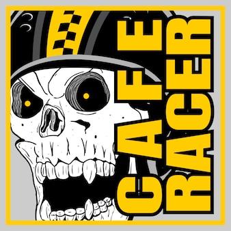 Crânio capacete café racer, mão de desenho