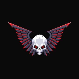 Crânio com asas mascote design