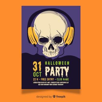 Crânio com auscultador de halloween de fones de ouvido