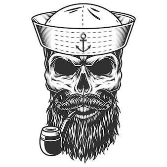 Crânio com barba e cachimbo