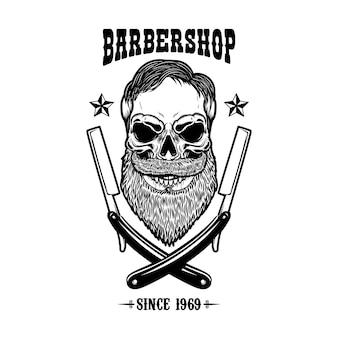 Crânio com barba e duas lâminas de barbear. modelo de design de impressão de camiseta
