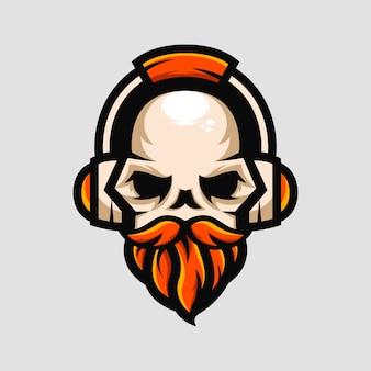 Crânio com barba usar fones de ouvido gamer música mascote