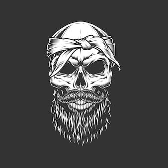 Crânio com bigode e barba de bandagem