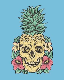 Crânio com cabeça de abacaxi e flores. ilustração tropical vibes