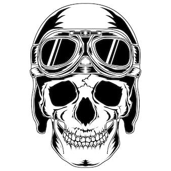 Crânio com capacete clássico e óculos escuros