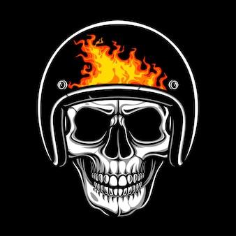 Crânio com capacete de fogo