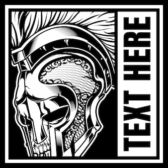 Crânio com capacete de gladiador
