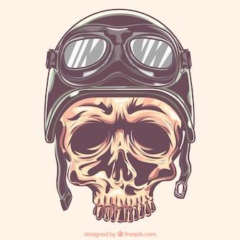 Crânio com capacete e óculos de motociclista