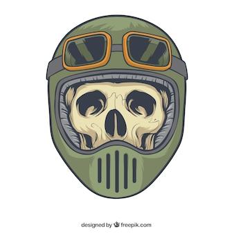 Crânio com capacete e óculos