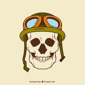 Crânio com capacete e vidros desenhados à mão