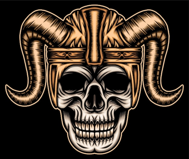 Crânio com capacete viking.