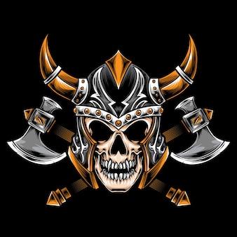 Crânio com capacete viking