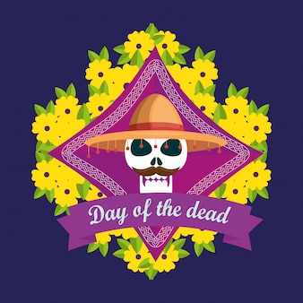Crânio com chapéu com flores para o dia dos mortos