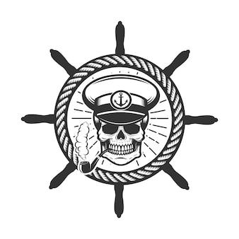 Crânio com chapéu de capitão do barco.