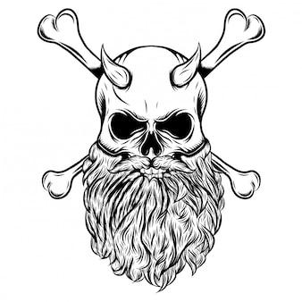 Crânio com chifres com barba e osso cruzado de ilustração