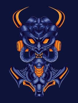 Crânio com chifres estilo mecha isolado em azul