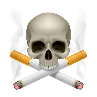 Crânio com cigarros cruzados como símbolo do perigo de fumar.