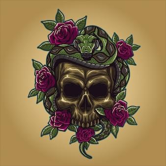 Crânio com cobra e rosa