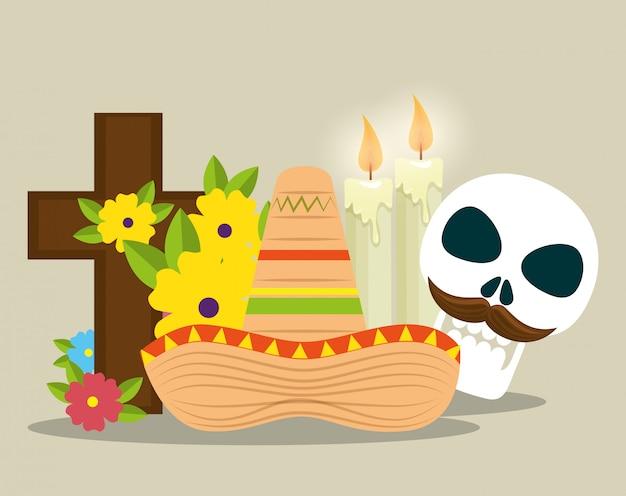 Crânio com cruz e velas para celebrar o dia dos mortos