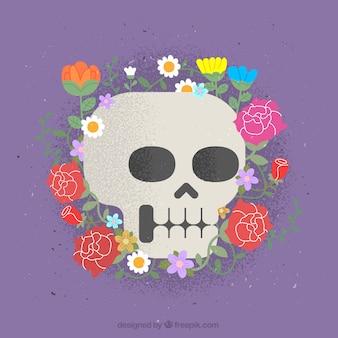 Crânio com decoração floral desenhado à mão