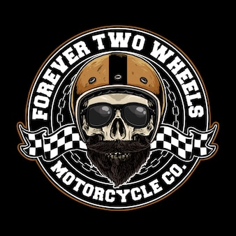 Crânio com distintivo de capacete de moto retrô